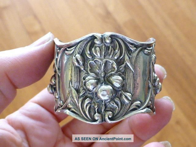 Victorian Lily Flower 4 Panel Reposse Sterling Silver Napkin Ring Napkin Rings & Clips photo