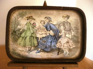 Antique Ladies Godey ' S Dresser Tray Mother With Her Four Children photo