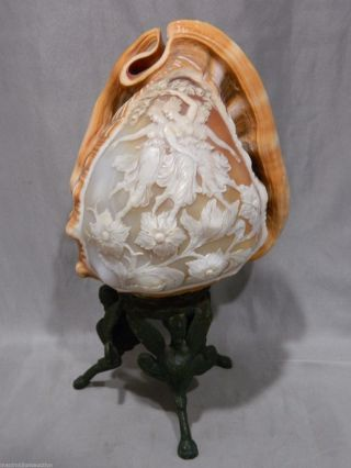 Antique Victorian Art Nouveau Carved Shell Cameo Lamp Dancing Maidens Sculpture photo