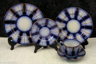 (5) Pc.  Antique Gaudy Flow Blue Wagon Wheel Place Setting W/copper Lustre photo