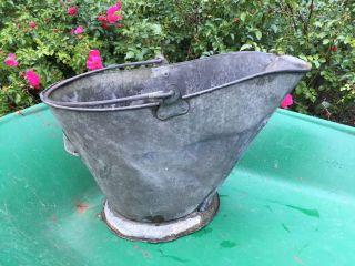 Antique Coal Scuttle Bucket Primitive Metal Ash Handle Flowers Vtg Pail Mum Fall photo