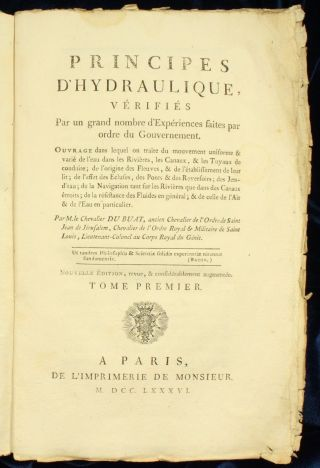 Du Buat Principes D ' Hydraulique 1786 Plates 2vol Untrimmed 2nd Nr photo