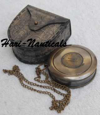 Antique Nautical Compass Poem Compass Brass Compass With Leather Case Gift photo
