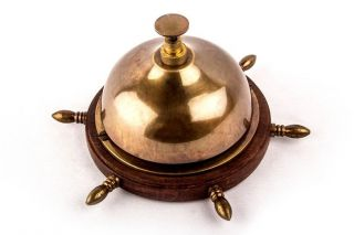 Collectible Marine Nautical Antiquated Vintage Brass Table Desk Décor Bell Bb 01 photo