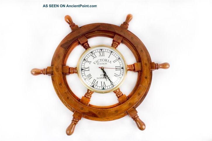 Pirate Captain Antique Clock Maritime Vintage Wooden Brass 18