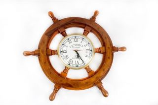Pirate Captain Antique Clock Maritime Vintage Wooden Brass 18