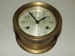 Antique Elgin 4 Jewel Brass Maritime Ship ' S Bell Strike Nautical Clock photo