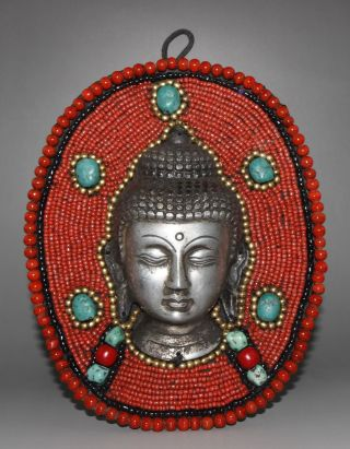 Old Tibet Silver Mosaic Turquoise Red Coral Sakyamuni Buddha Statue Wall Hanging photo