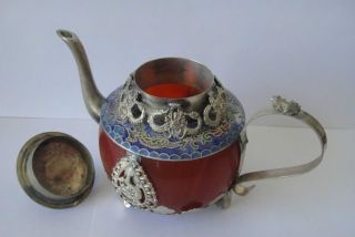 Collectible Decorated Old Handwork Jade Tibet Silver Dragon Tea Pot Monkey Lid photo