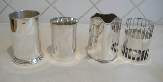 4 Vintage Silver Plated Sauce Bottle Holders. photo