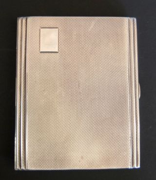 1936 James Dixon & Sons Art Deco Engine Turned Sterling Silver Cigarette Case photo