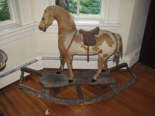 Victorian Platform Rocking Horse W Saddle Real Hide And Horsehair photo