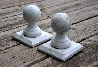 Pair Vintage Ball Post Cap Finial Architectural Salvage Wood Newel Post Paint photo