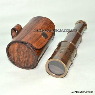 Brass Pipe Handheld Telescope Pirate Spyglass Leather Box Gift photo