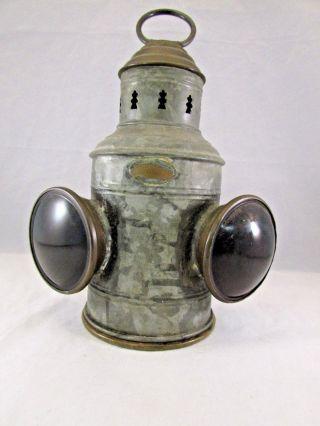Vintage E.  J.  Willis Co.  Twin Bulls Eye Lens Brass & Galvanized Nautical Lantern photo