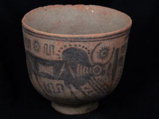 Ancient Teracotta Painted Cup With Bulls Indus Valley 2500 Bc Pt15502 photo