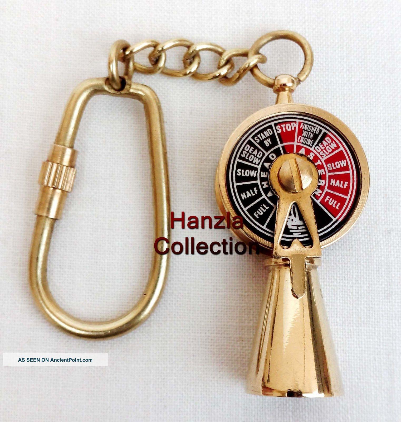 Nautical Brass Telegraph Key Chain Vintage Ship Engine Room Telegraph Key Ring Telegraphs photo