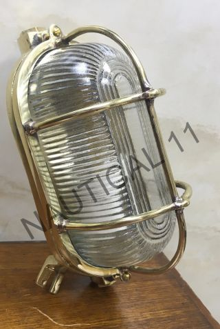 Vintage Marine Nautical Light Brass Ship Wall & Celling Oval Passage Light 1 Pc photo
