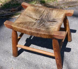 Vintage Handmade Rustic Primitive Oak Wood Natural Jute Rope Milking Foot Stool photo