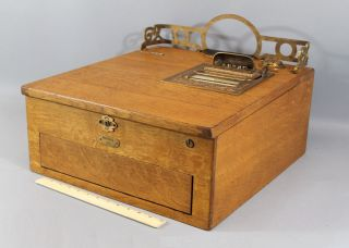 C1900 Antique National Autographic Oak & Brass Cash Register Model 45,  Nr photo