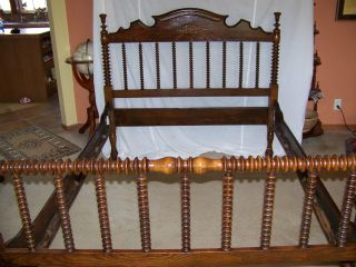 Antique Solid Walnut Jenny Lind Style Bed photo