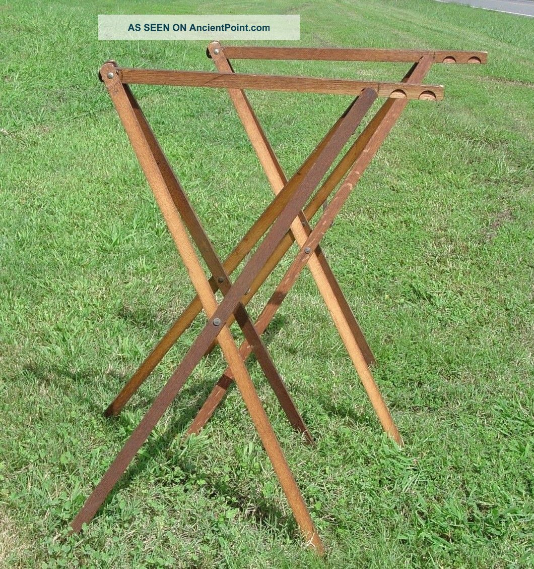 Vintage Pair Wooden Folding Wallpaper Drying Table Racks Holders Adjustable Vgc Unknown photo