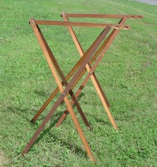 Vintage Pair Wooden Folding Wallpaper Drying Table Racks Holders Adjustable Vgc photo