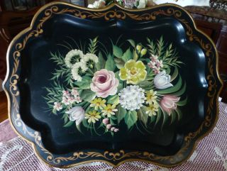 Large Vntg Tray Toleware Hand Painted Metal Floral Scalloped Edge 26 1/2