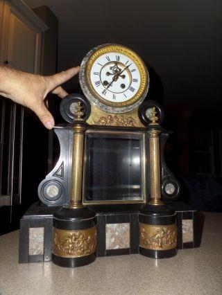 Antique Constantine Detouche French Mantle Clock Ad.  Mougin Heavy 50 Lbs photo