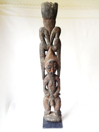 Tall Antique African Tribal Wooden Statue Metal Base photo