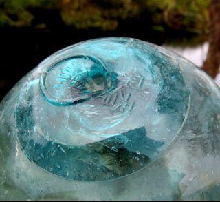 Japanese Glass Fishing Float Wp Mark 375 Fuku Sakana 4