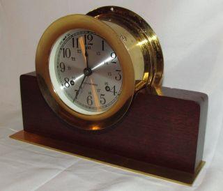 Vtg Seth Thomas Ships Bell Clock Mantle Brass Nautical Navy Wood Base German Mvt photo