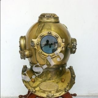 Antique Scuba Sca Divers Diving Helmet Us Navy Mark V Deep Sea Marine Divers photo