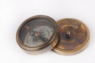 Solid Brass Antique Vintage 3in1 World Time,  100 Years Calendar,  Compass Sc 041 photo