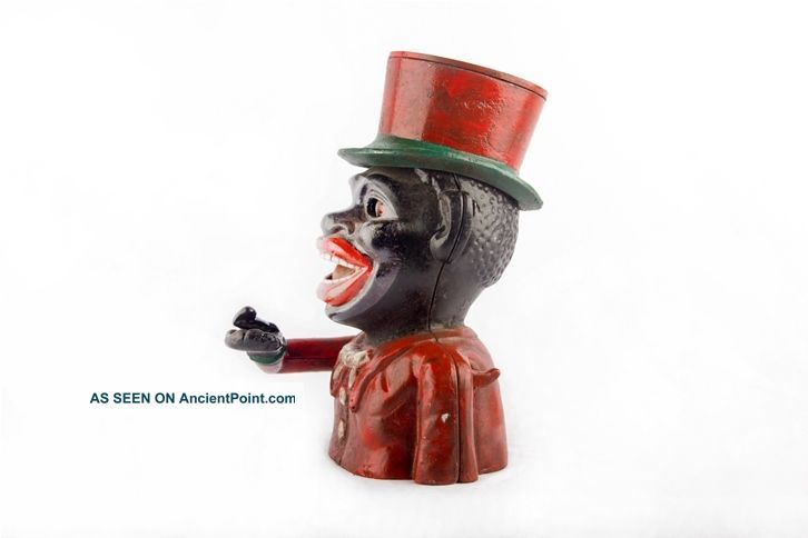 Antique J.  Stevens 1882 Jolly Mechanical Hat Man Coin Box Money Bank Mb 02 Other Maritime Antiques photo