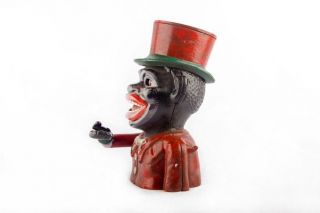 Antique J.  Stevens 1882 Jolly Mechanical Hat Man Coin Box Money Bank Mb 02 photo