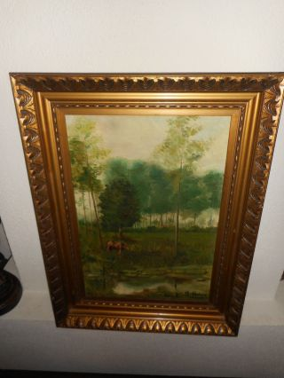 Antique Oil Painting,  { Landscape Wih Cow Near A River,  Is Signed,  Frame }. photo
