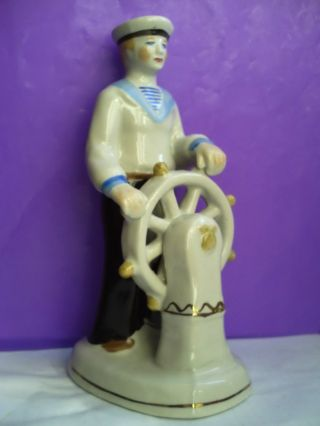 Soviet Sailor Seaman At The Helm Of The Ship Russian Porcelain Figurine 4312u photo