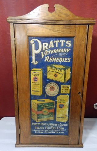 Early 1900s Antique Rare Tin Lito Pratts Food Veterinary Remedies Wall Cabinet photo