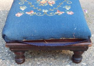 Victorian Foot Stool,  Adjustable Angle & Height,  Unique Rare,  Oak? Needlepoint photo