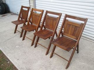 4 Vintage Oakwood Chair Co.  Patio Folding Garden Church Cottage Wood Slat Chairs photo