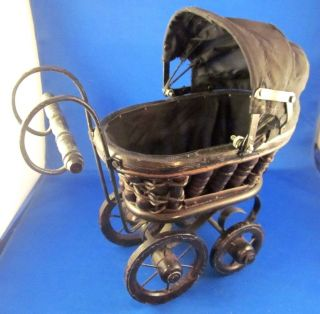 Vintage Baby Doll Stroller/pram Black Wood Cast Iron Wicker Canvas 10