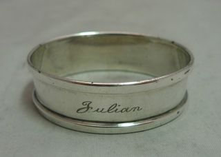 Vintage Oval Silver Napkin Ring Julian Henry Griffith & Sons 1952 photo