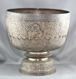 Magnificent Antique Sterling Silver Bowl & Stand Made In Thailand Circa 1890s photo