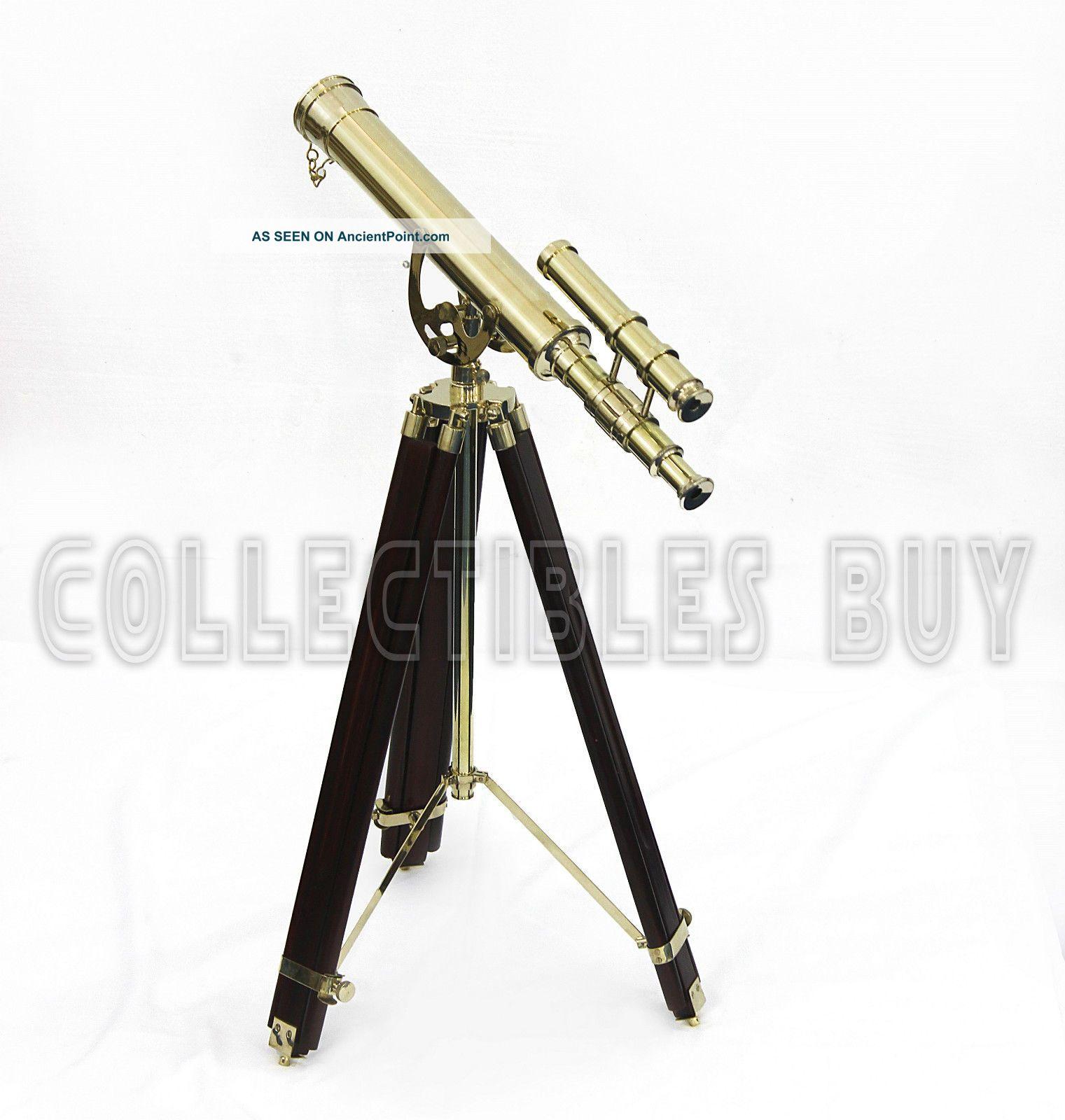 Antique Shiny Brass Finish Marine Double Barrel Telescope Solid Red Wood Tripod Telescopes photo