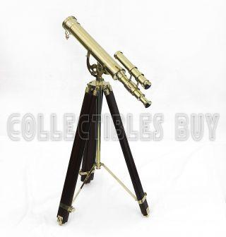 Antique Shiny Brass Finish Marine Double Barrel Telescope Solid Red Wood Tripod photo