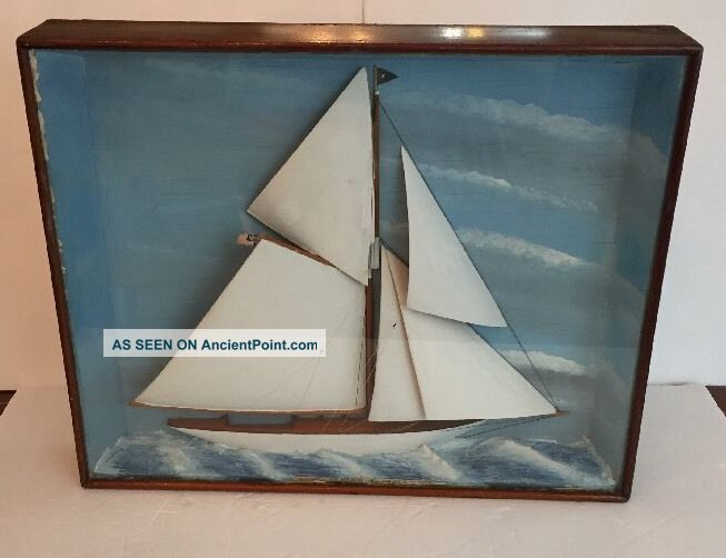 Fa Gentzen Folk Art Wooden Model Carved Yacht Defender 1895 Boat Sailboat Model Ships photo