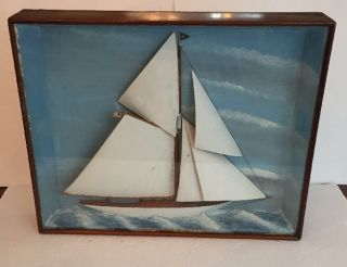 Fa Gentzen Folk Art Wooden Model Carved Yacht Defender 1895 Boat Sailboat photo
