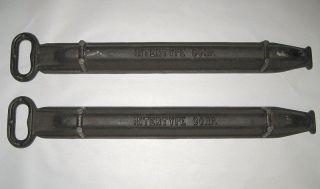 2 Antique Cast Iron Intertype Corp.  Linotype Lead Foundry Ingot Mold photo