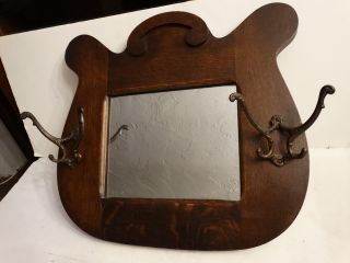 Antique Oak Halltree Coat Hat Rack Mirror Dated 1918 Iron Hooks photo